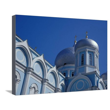 Uspensky Cathedral (Blue and White Domed Greek Orthodox Church, Uspensky Cathedral, Odessa, Ukraine Stretched Canvas Print Wall Art By Cindy Miller)