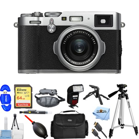 Fujifilm X100F 24.3 MP APS-C Digital Camera (Silver) #16534584 Pro Bundle with 64GB SD, Flash, Tripods, Gadget bag, HDMI Cable + MORE