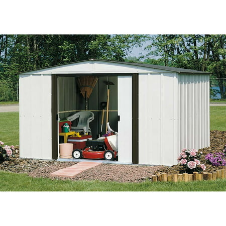 Oakwood 10 x 14 ft. Steel Storage Shed Coffee/Eggshell