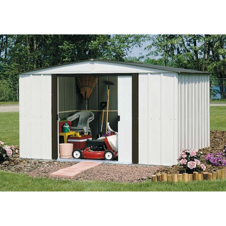 Newburgh 10 x 8 ft. Steel Storage Shed Coffee/Eggshell