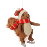 "7.75"" Country Cabin Stuffed Animal Squirrel On Ice Skates with a Red Scarf Christmas Figure Ornament"