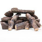 9-Pieces X-Large Realistic Pine Woods Ceramic Wood Fireplace Logs Gas Firebox Logs Set