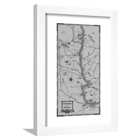 The Burlington Route Indian Trails to Steel Rails Centerfold Map Framed Print Wall Art Brown Steel Rails