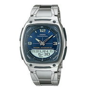 Casio AW81D-2AV Men's Metal Band Blue Dial Analog Digital Telememo 30 Watch