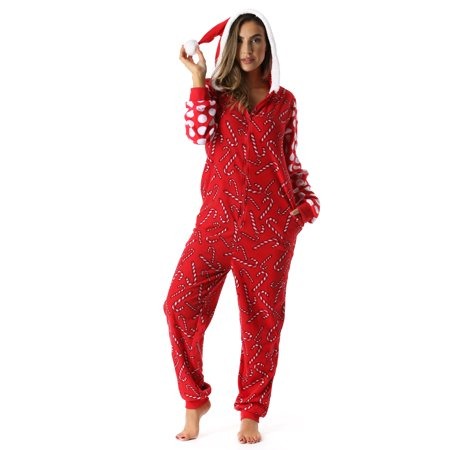 ffa18629201f  followme Adult Christmas Onesie for Women Jumpsuit One-Piece Pajamas  (Candy Cane Santa