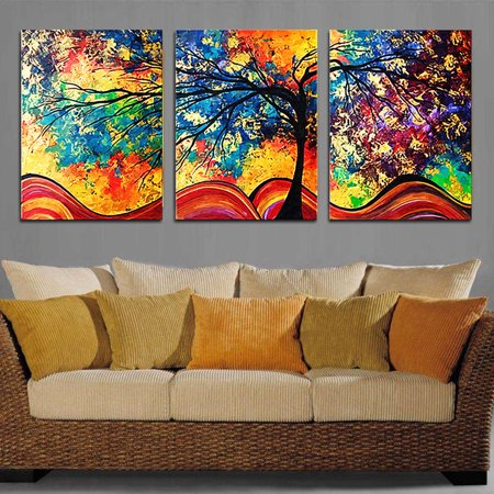 Landscape Tree Oil Painting (3Pcs Colorful Tree Wall Art Oil Painting Giclee Landscape Canvas Prints Home Decorations Framed )