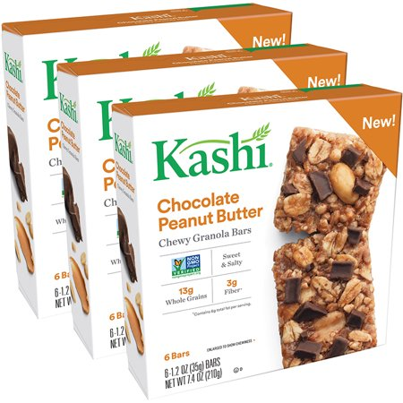 Kashi Chewy Granola Bars, Chocolate Peanut Butter, 1.2 Oz, 6 Ct (Pack of 3)