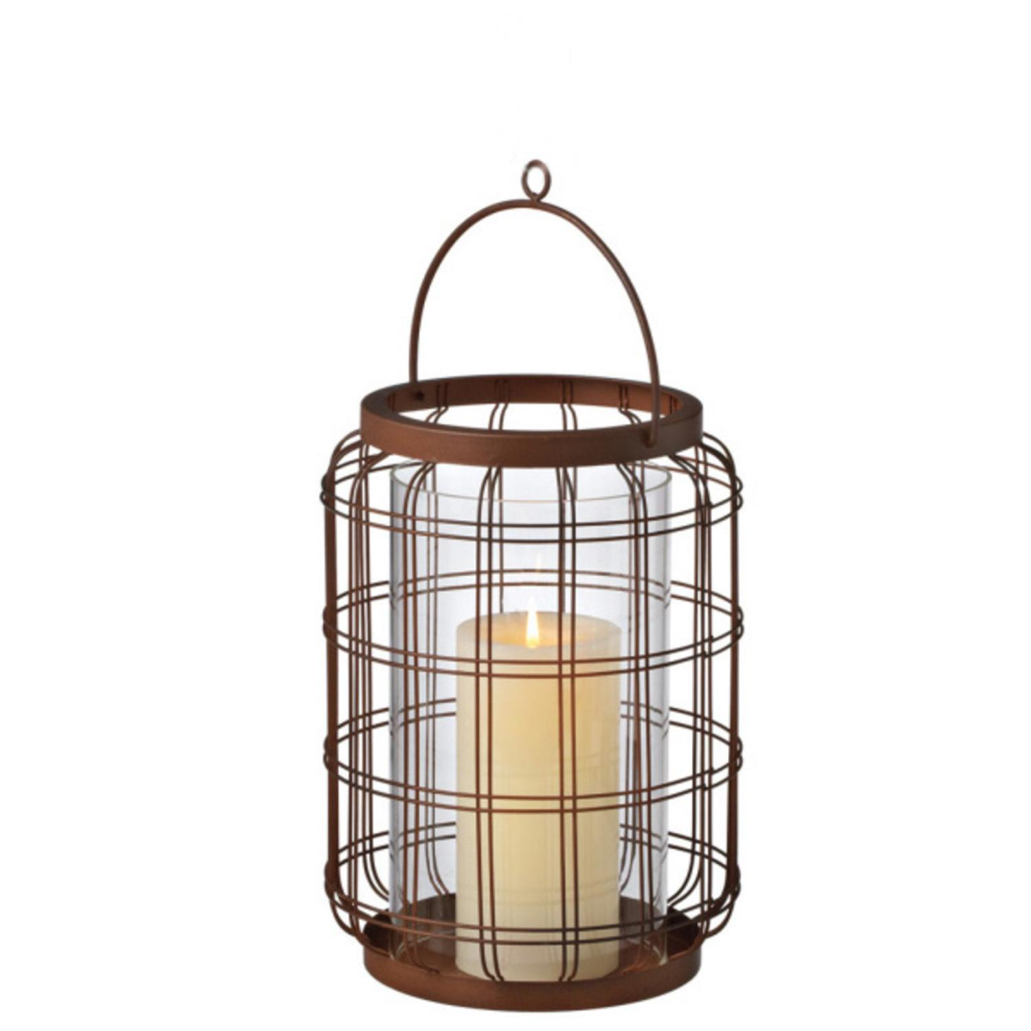 """9.75"""" Rustic Style Open Wire Weave Pillar Candle Holder Lantern"""