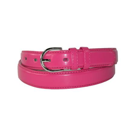 CTM®  Leather 1 1/8 Inch Dress Belt (Women's) Pink Leather Belt Strap