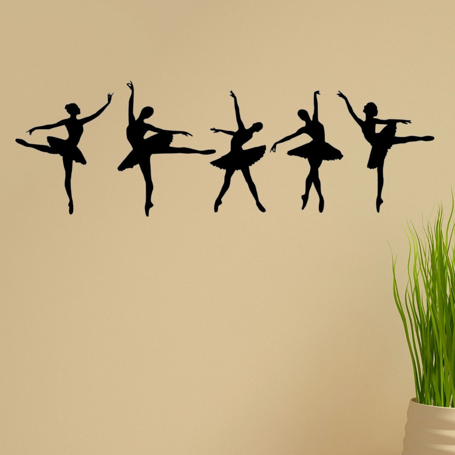 'Ballerina Dancers' Vinyl Wall Graphic Decal (Set of 5) Brown
