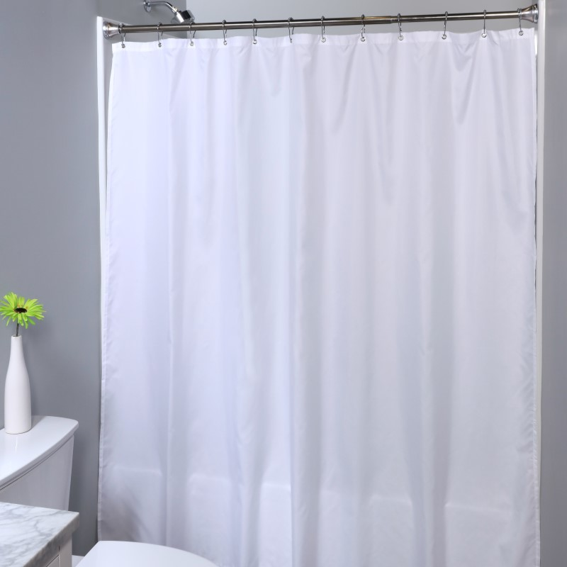SlipX Solutions 70 in. x 72 in. Soft Microfiber Fabric Shower Curtain Liner with Microban
