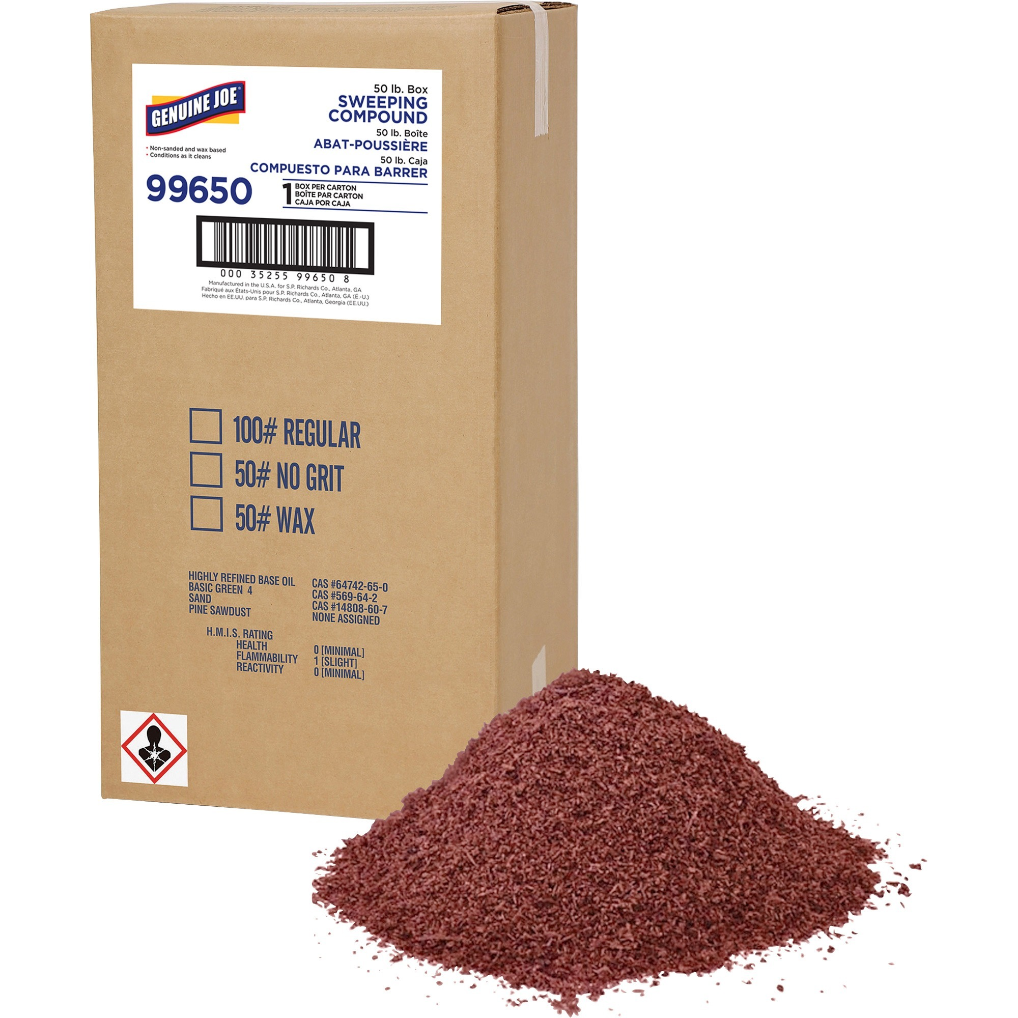 Genuine Joe, GJO99650, Wax Based Sweeping Compound, 1 Box, Red