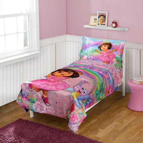 DISCONTINUED - Dora the Explorer Toddler Bedding 4-Piece Set, La Imagination