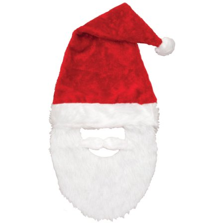 977f49536d7c7 Santa Claus Plush Hat   White Beard Christmas Holiday Red Costume Accessory  - Walmart.com