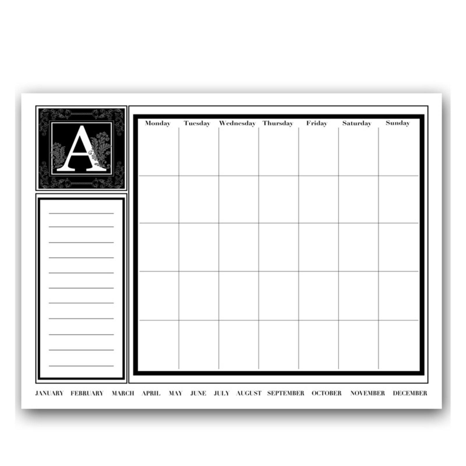Ready2HangArt Monogram Monthly Dry Erase Calendar