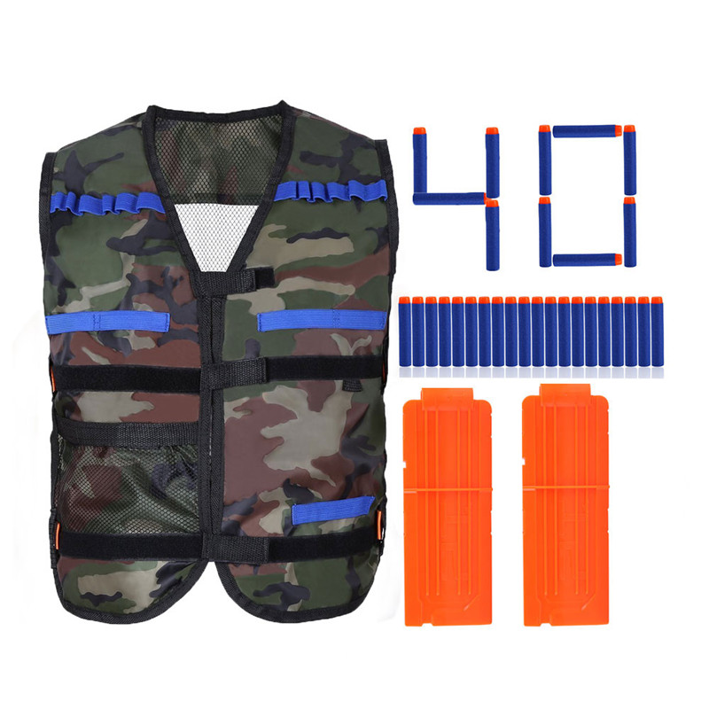 Kids Elite Camo Vest with 40PCS Blue Soft Foam Darts & 2 Large Clips for EVA Series Gifts toys