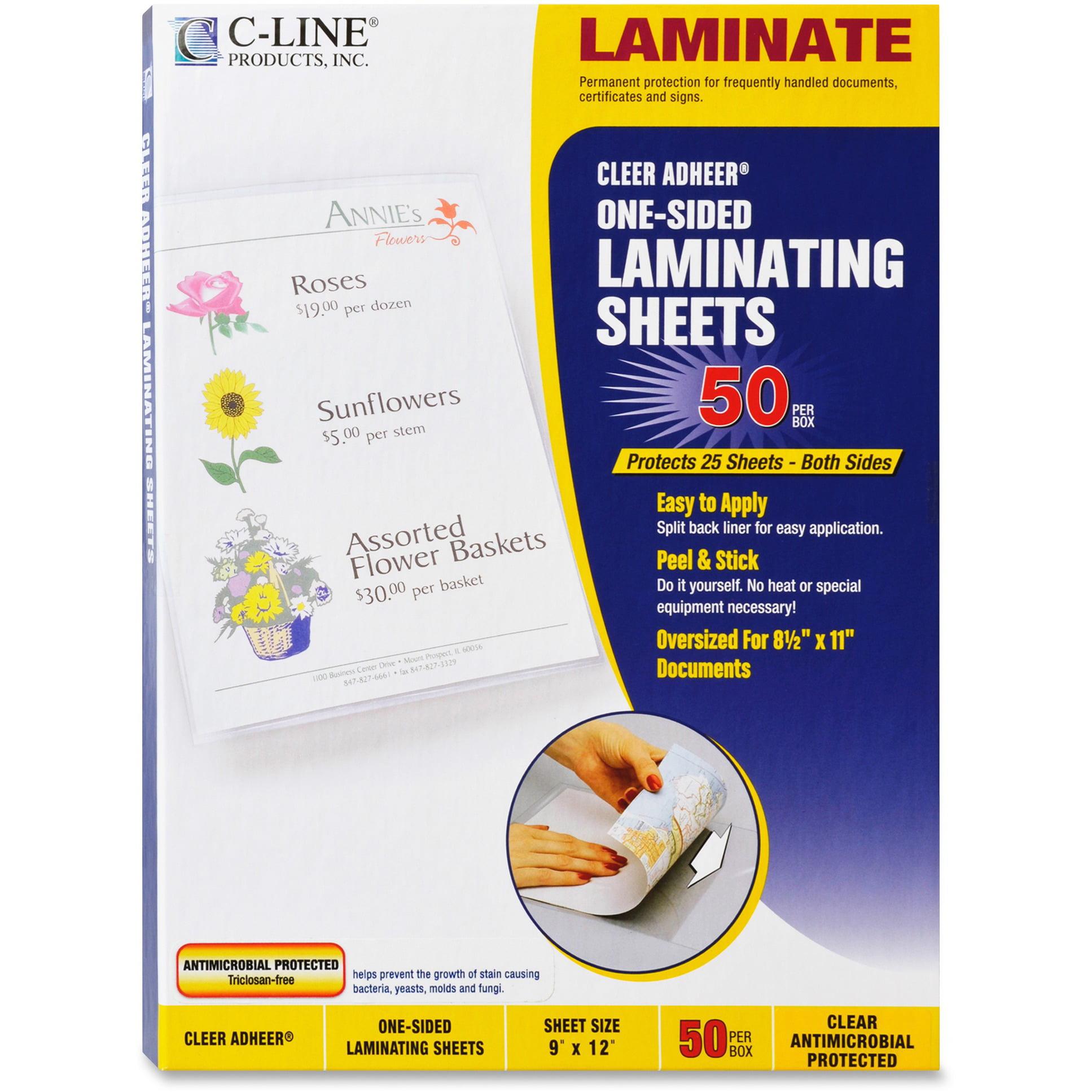 """C-Line Cleer Adheer Self-Adhesive Laminating Film, 3 mil, 9"""" x 12"""", 50/Box"""