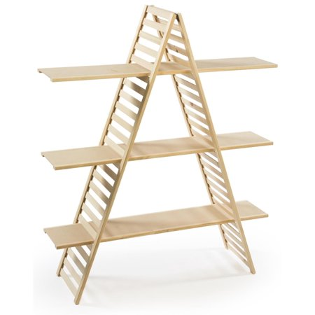 - Wood A-Frame Shelf, 3 Tiers, Adjustable Shelves, 48