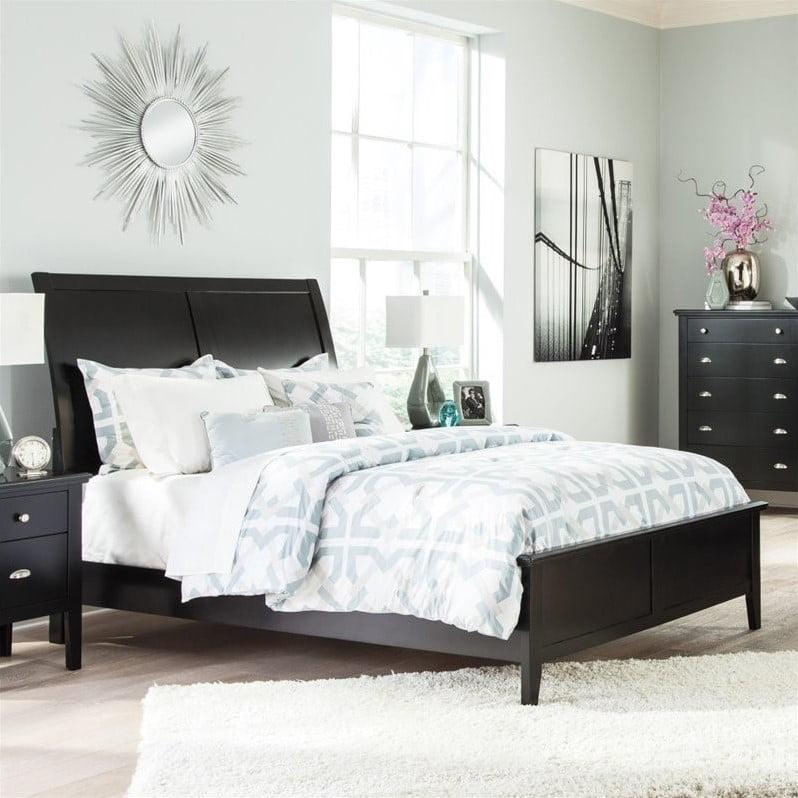 Ashley Braflin Wood Sleigh Bed in Black by Ashley Furniture