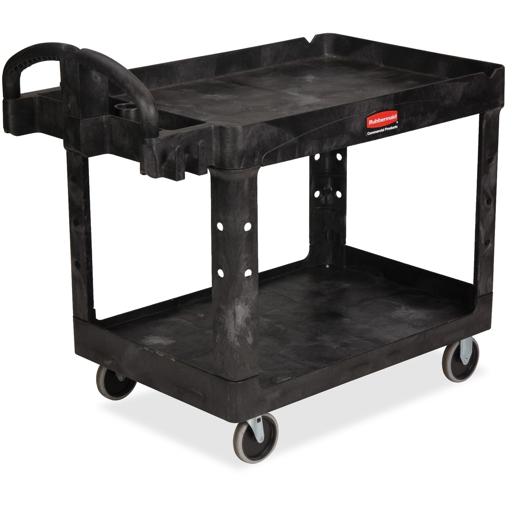 Rubbermaid Commercial, RCP452088BK, Medium Utility Cart with Lipped Shelf, 1 Each, Black