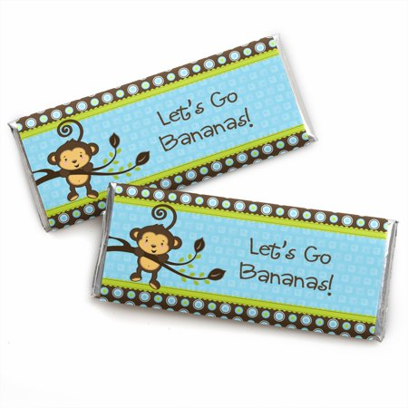 Monkey Boy - Baby Shower or Birthday Party Candy Bar Wrappers Party Favors - Set of