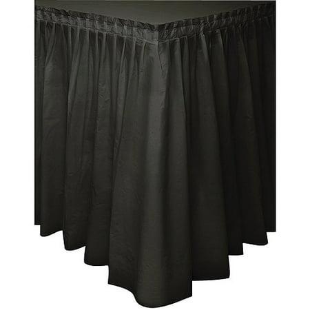 Black Plastic Table Skirt, - Plastic Table Skirt