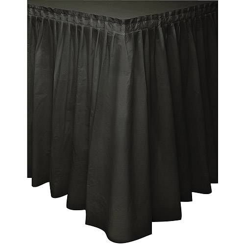 Plastic Table Skirt, 14 ft, Black, 1ct