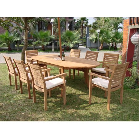 Teak Dining Set8 Seater 9 Pc 94 Oval Table And 8 Stacking Hari