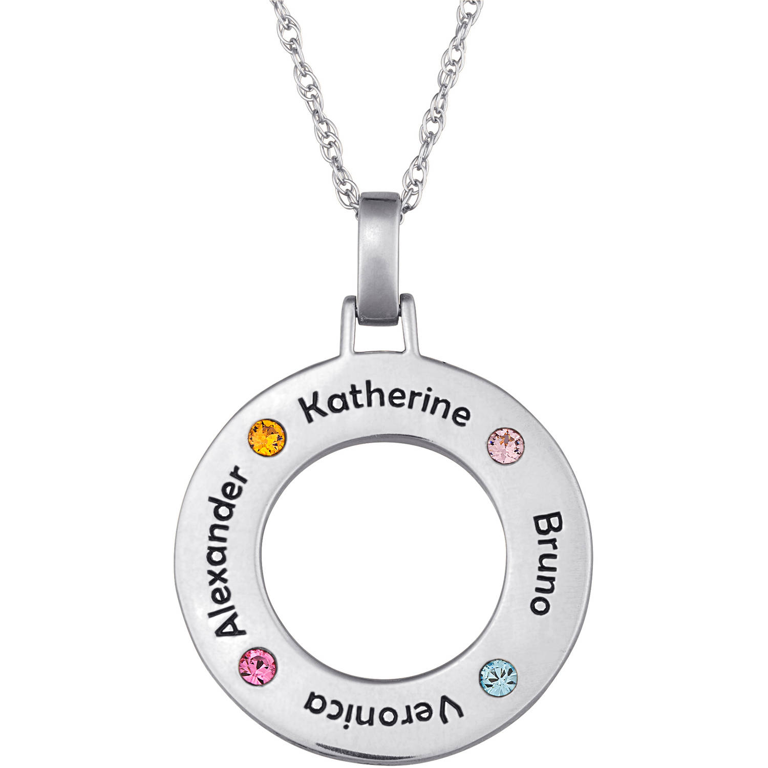 Personalized Sterling Silver Family Name & Birthstone Disc Necklace