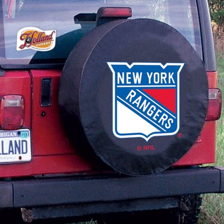 New York Tire Cover with Rangers Logo on Black Vinyl Size: D10 - 30.75 x 10 Inch New York Jets Tire Cover