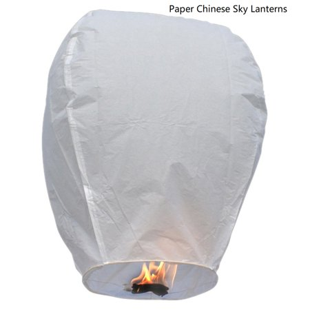 50 Pack Paper Lanterns, Eco-Friendly Wire-free Lanterns, 100% Biodegradable, Wish to Release in Sky, Halloween Decoration for Christmas Weddings Birthdays, White, S7233 Painting Paper Lantern