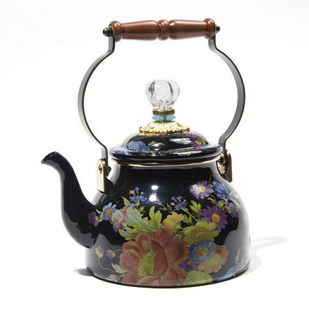 Flower Market Black Two-Quart Tea Kettle, BLACK, Brand New with Tags,100% Authentic.