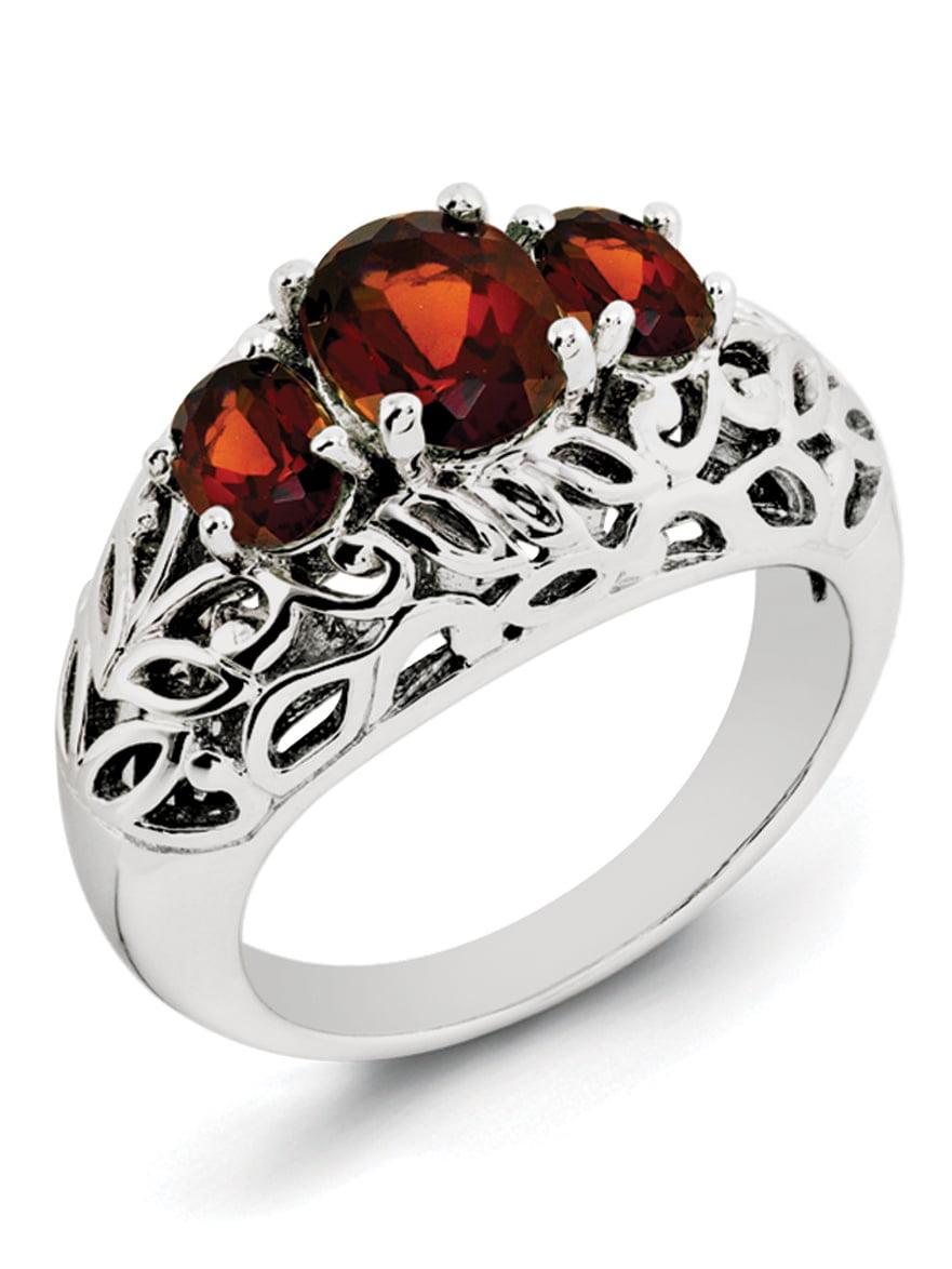 Sterling Silver Garnet Ring by