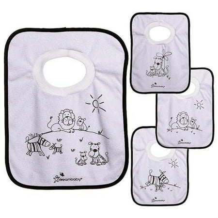 Dreambaby Jungle Theme Pullover Bibs - 4 Pack