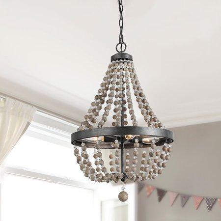 LNC 4-Light Wood Bead Chandeliers Black Basket Candle Bedroom Lighting (Beaded Chandelier)