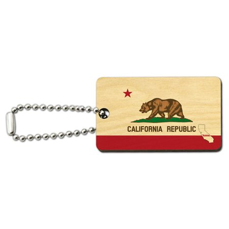 California CA Home State Wood Wooden Rectangle Key Chain -