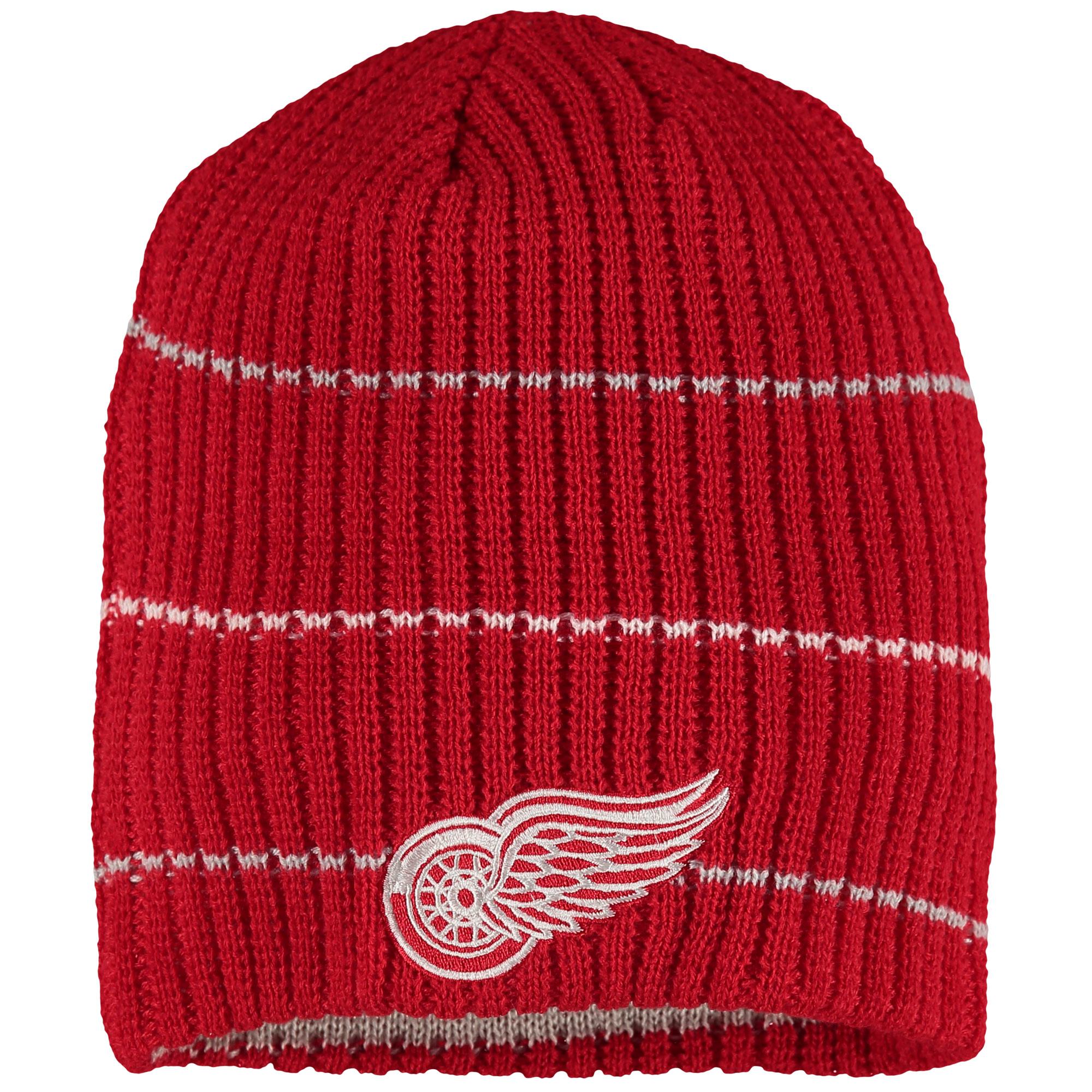 Detroit Red Wings Reebok Face-Off Textured Stripe Beanie - Red - OSFA