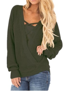 Autumn Winter V-neck Women Knit Tops Casual Sweater