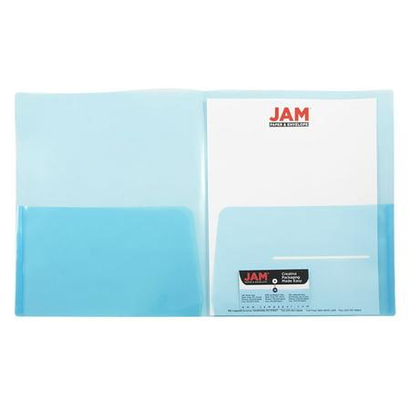 JAM Paper Plastic Light Weight Two Pocket Presentation Folder, Blue, pack of 6 - Plastic Folders