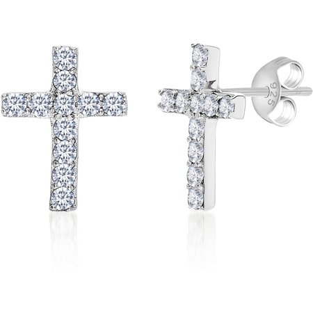 - Cubic Zirconia Cross Earrings in Sterling Silver