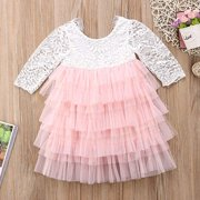 Baby Girls Lace Tutu Princess Wedding Flower Girl Birthday Party Dress