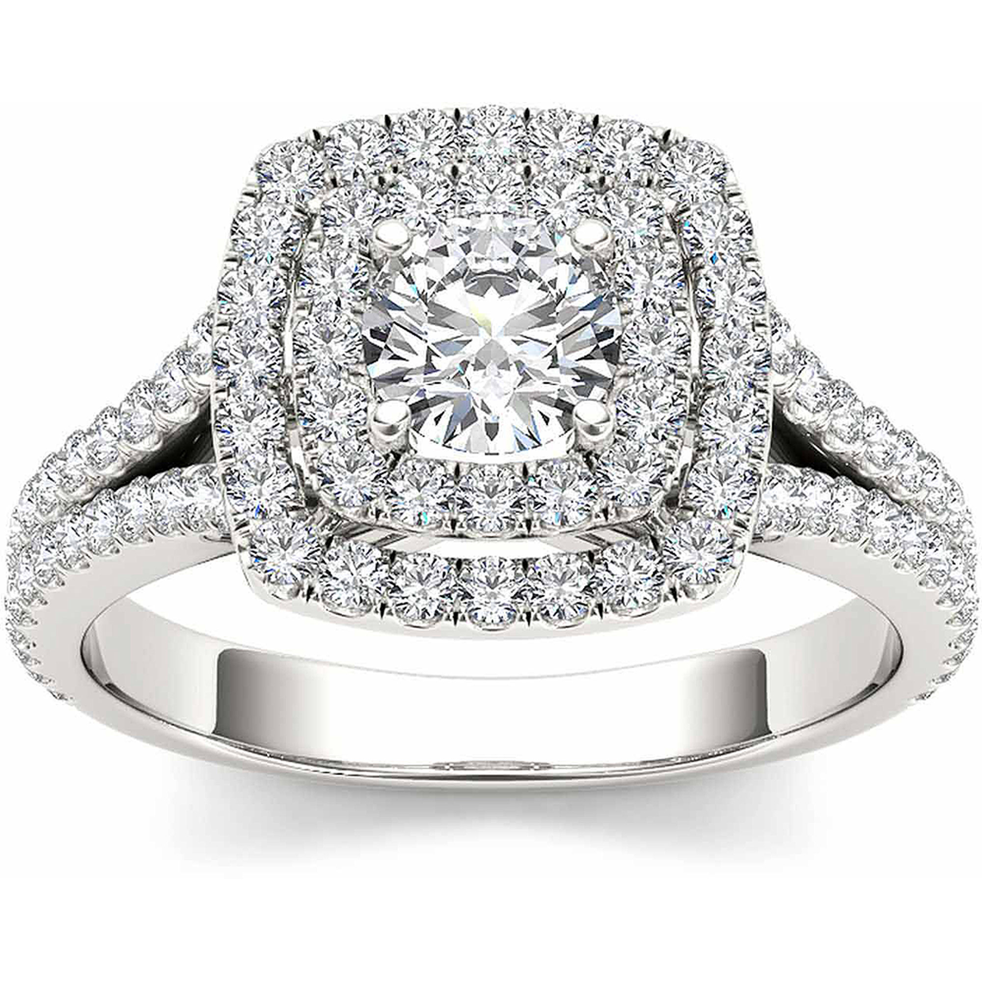 Imperial 1 Carat T.W. Diamond 10kt White Gold Double Halo Split Shank Engagement Ring