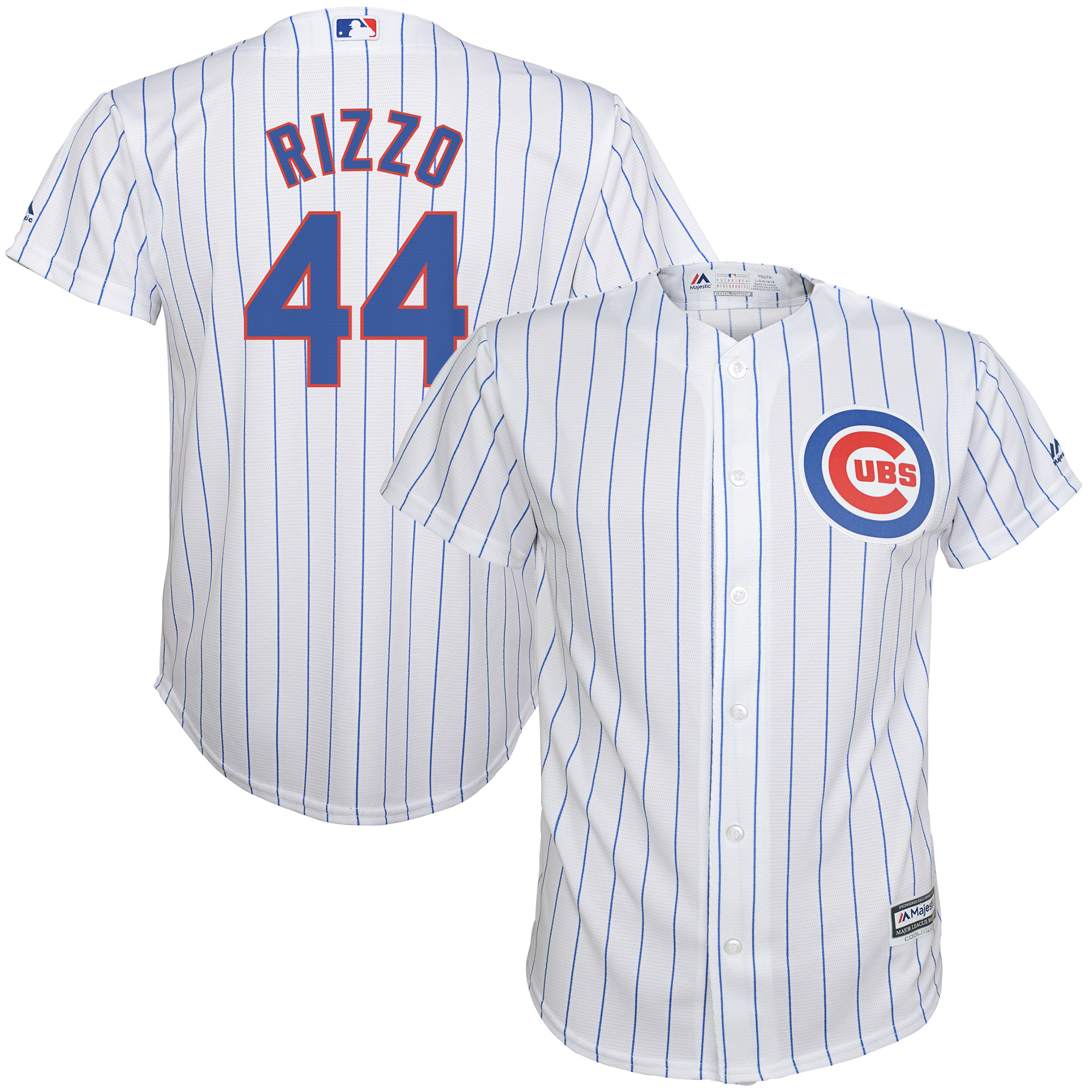 Anthony Rizzo Chicago Cubs Majestic Youth Home Official Cool Base Player Jersey - White/Royal
