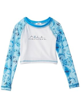 Azul Little Boys White Blue Sea Life Long Sleeve UV Protection Rash Guard