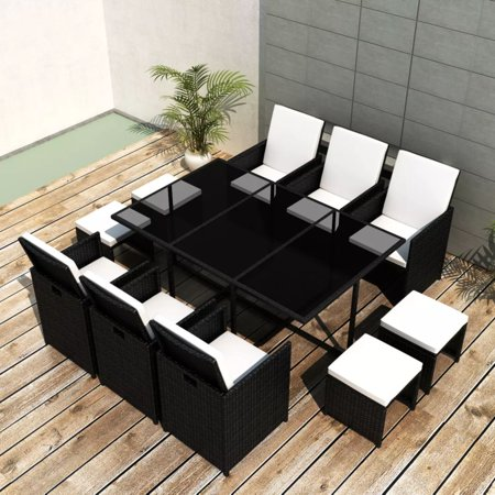 11 Piece Outdoor Dining Set with Cushions Poly Rattan Black ()