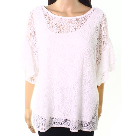 e7289fea85c78b Ruby Rd. Tops & Blouses - Ruby Rd. Womens Large Lace-Overlay Solid Knit Top  - Walmart.com