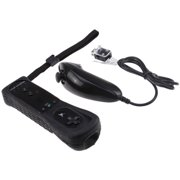 AGPtek 2in1 Built in Motion Plus Remote and Nunchuck Controller with Silicon Case for Nintendo Wii, Wii U and Mini Wii