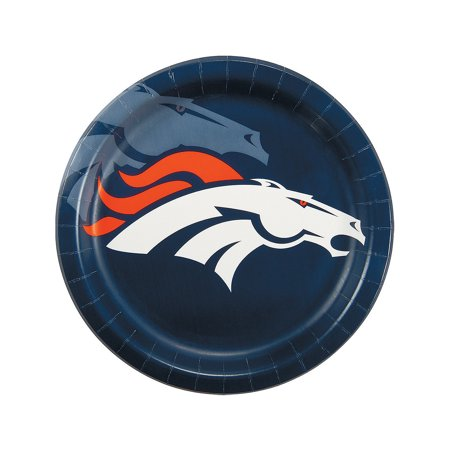 Fun Express - Nfl Denver Broncos Dinner Plates for Party - Party Supplies - Licensed Tableware - Licensed Plates & Bowls - Party - 8 Pieces