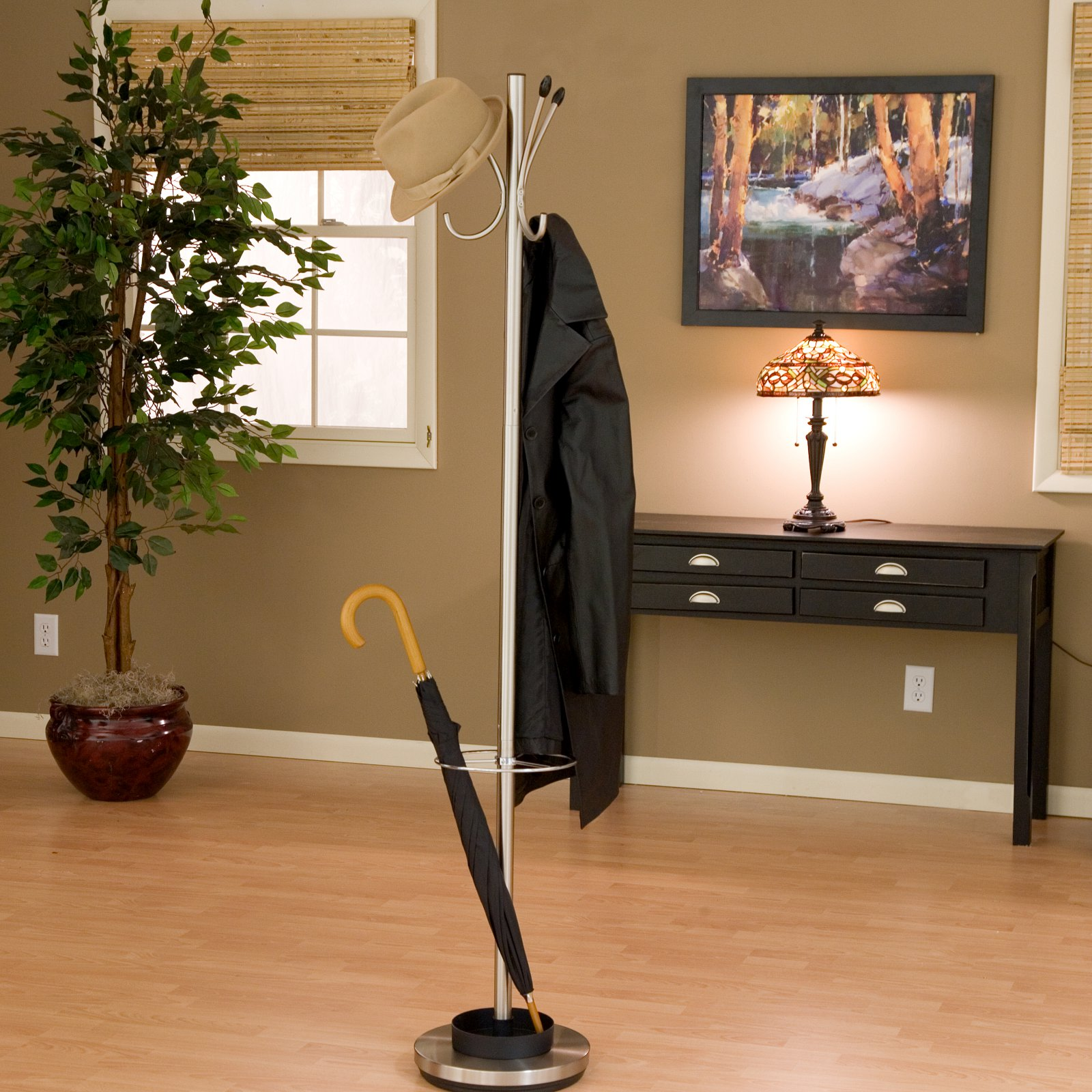 Adesso Jade Metal Standing Coat Rack and Umbrella Stand