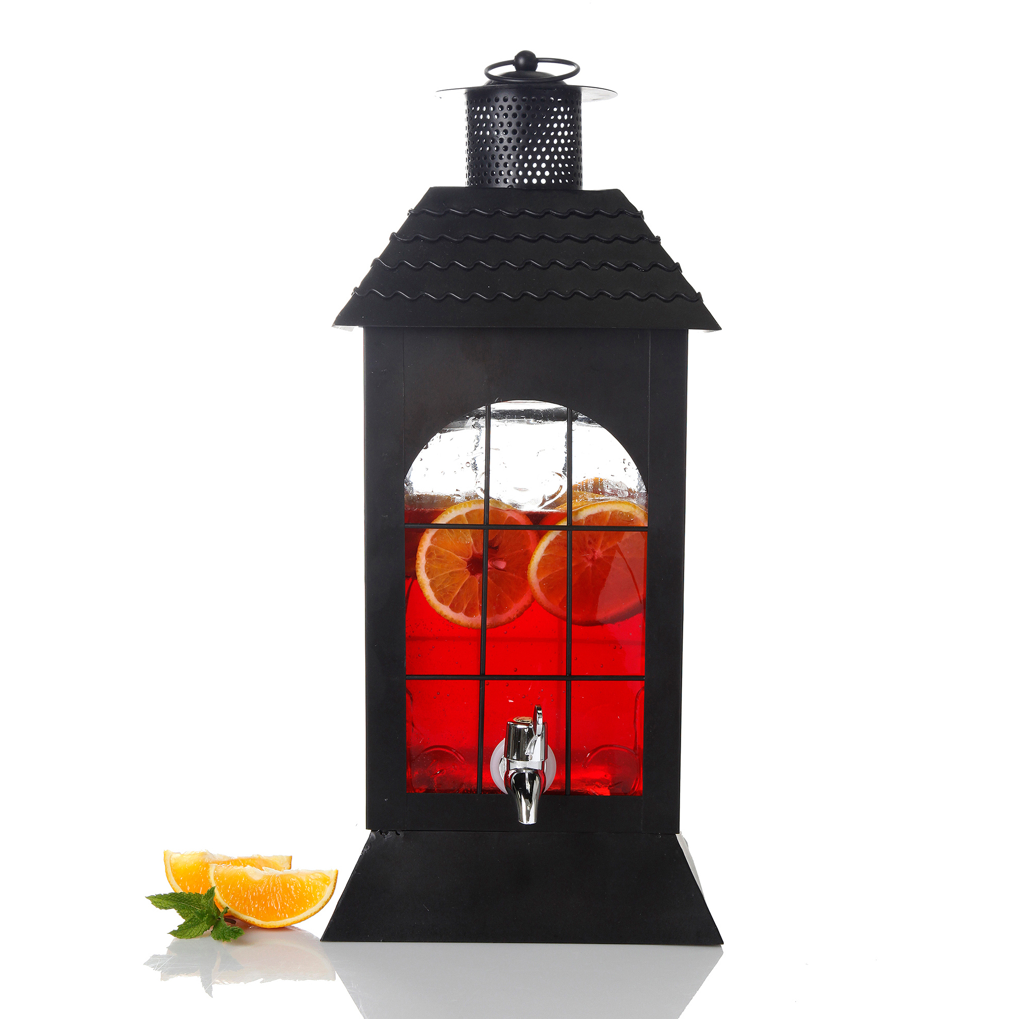 Gibson Home Peoria Glass Drink Dispenser with Black House Shape Metal Rack, 1.32 Gallons, Glass